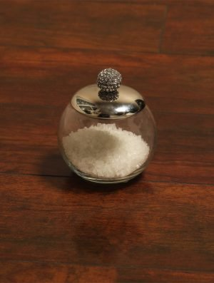 Sparkling Rhinestone Detail glass Jar with Nickle Plated Lid -S