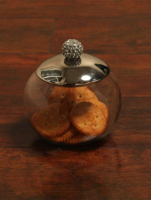 Sparkling Rhinestone Detail glass Jar with Nickle Plated Lid - M