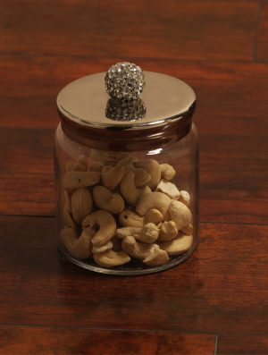 Sparkling Rhinestone Detail glass Jar with Nickle Plated Lid - L