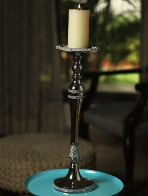Sparkling Pillar Candle stand with rhinestone details - S