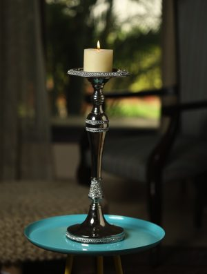 Sparkling Pillar Candle stand with rhinestone details - L