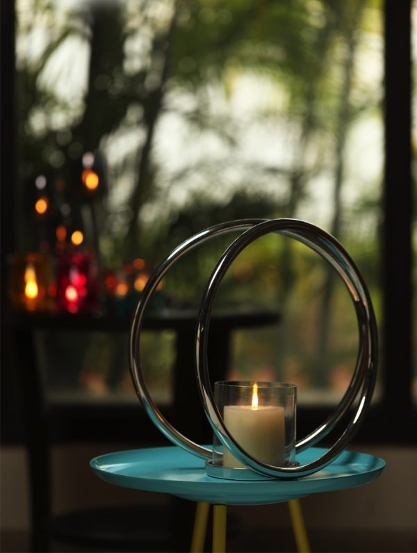 Aluminium Double Ring Nickle Plated pillar candle holder - S