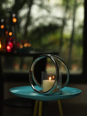 Aluminium Double Ring Nickle Plated pillar candle holder - M