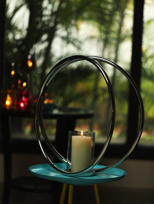 Aluminium Double Ring Nickle Plated pillar candle holder - L