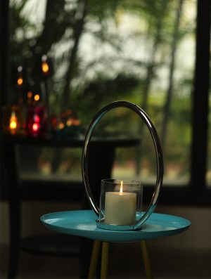 Aluminium Single Ring Nickle Plated pillar candle holder - M