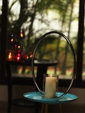 Aluminium Single Ring Nickle Plated pillar candle holder - L