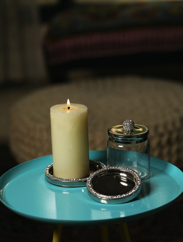 Sparkling Rhinestone Border on nickle plated candle holder - S