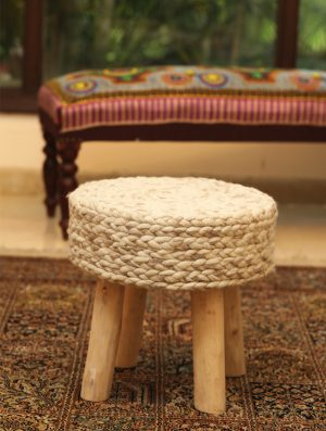 Rich Handcrafted Knitted Woollen Stool