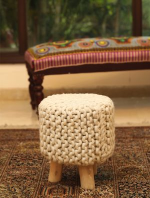 Rich Handcrafted Knitted Stool